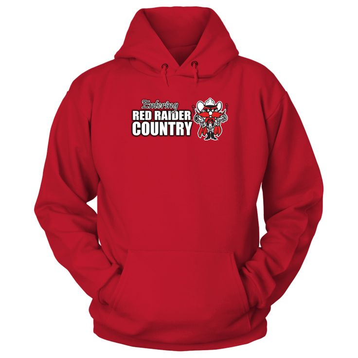 Entering Red Raiders Country - Wear Texas Tech University Apparel T-Shirt, Texas Tech University Apparel  and Gifts _Support the Texas Tech Red Raiders  _ Perfect for the Texas Tech shirt for the country cowgirl who loves the Red Raiders.  Great to wear during a college football or baseball game. Brag a little about Texas Tech University, show your pride in the Texas... The Texas Tech Red Raiders Collection, OFFICIAL MERCHANDISE  Available Products:          Gildan Unisex Pullover Hoodie…