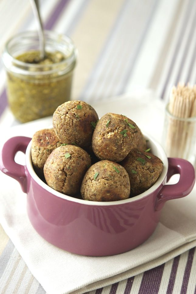 """Lentils """"Meatballs"""" With Light Pesto - meatless meatballs may sound like an oxymoron, but I don't miss it w/ this substitute"""