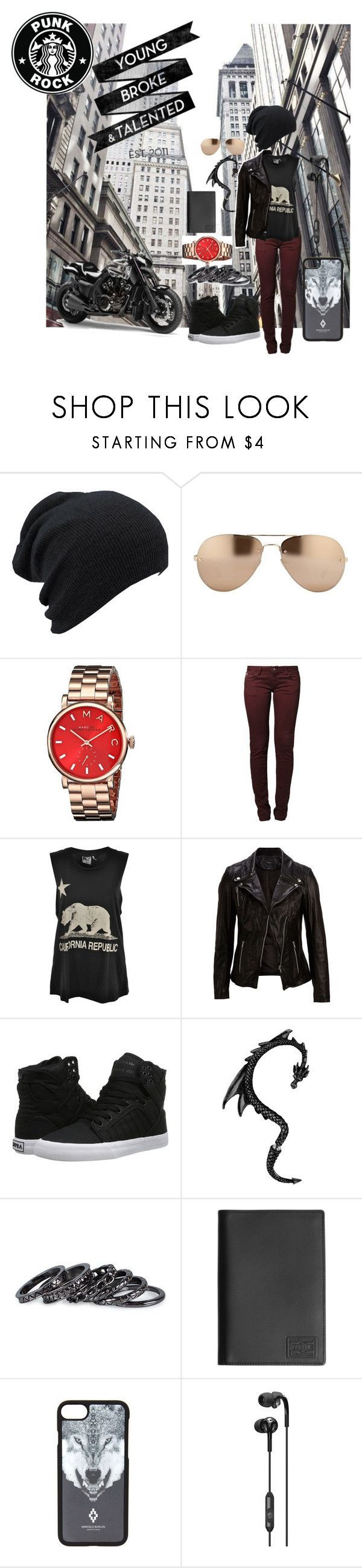 """""""tony stark somewhat"""" by alyssahernan on Polyvore featuring Linda Farrow, Marc by Marc Jacobs, Le Temps Des Cerises, Rebel Yell, SELECTED, Supra, Pieces, Wings + Horns, Marcelo Burlon and Skullcandy"""