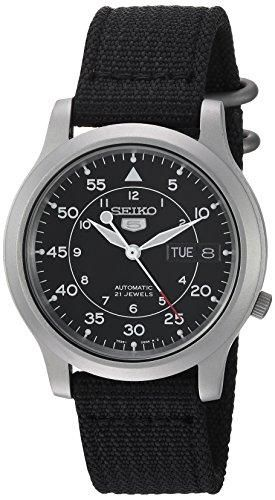 Seiko SNK809 Seiko 5 Men's Automatic Stainless Steel Watch with Black Canvas Strap