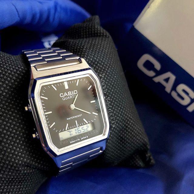 6178cc2a10a2 Reloj Casio DOBLE TIEMPO . Precios por DM . Tonos Plata pantalla blanca  Plata
