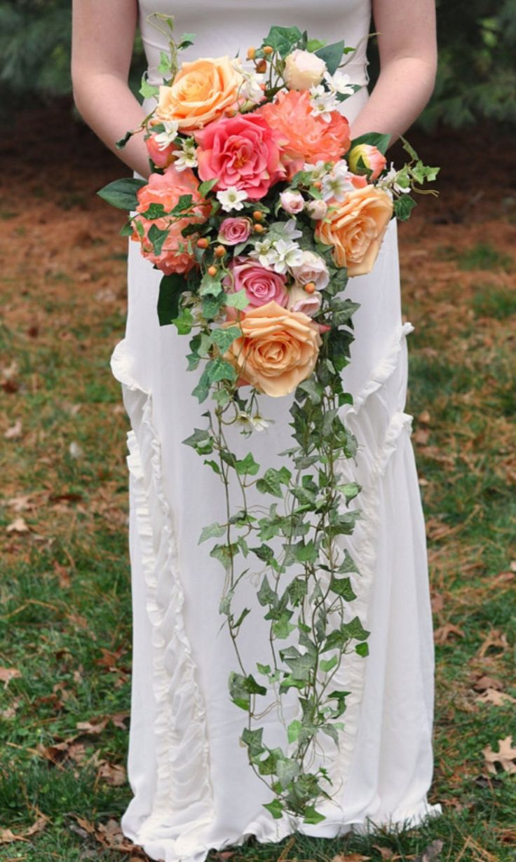 This+silk+flower+bouquet+is+made+with+coral+peonies,+peach+roses,+white+daisies,+trailing+ivy,+coral+roses+and+hypericum+berries+and+is+perfectly+packable+for+your+destination+wedding. See+more+here:+https://www.etsy.com/listing/261677874/coral-cascade-bouquet-trailing-bouquet?ref=shop_home_active_2
