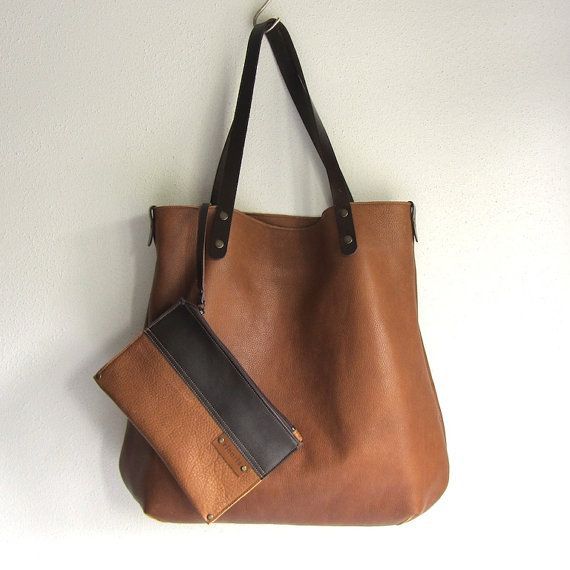 You will love this large tote bag BIG!    Tote bag BIG is made from beautiful thick and buttery soft full grain vegetable tanned Italian leather in a