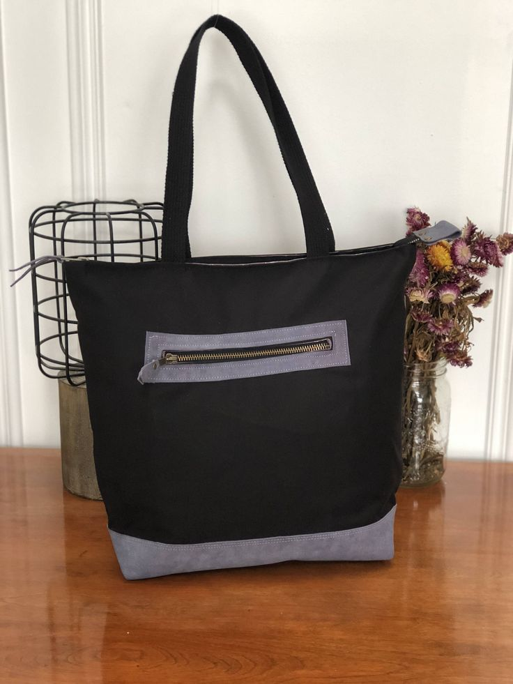 Wanderer Tote - Canvas Tote Bag, Leather Tote Bag, Black Canvas, Lavender Leather, Purple Leather, Zipper Tote, Lewis and Irene Lining