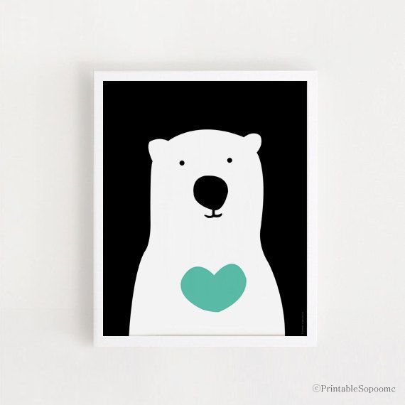 INSTANT DOWNLOAD Cute Bear Children room art Printable art Black and white Mint For babies Baby decor Nursery wall art 8x10 and A2