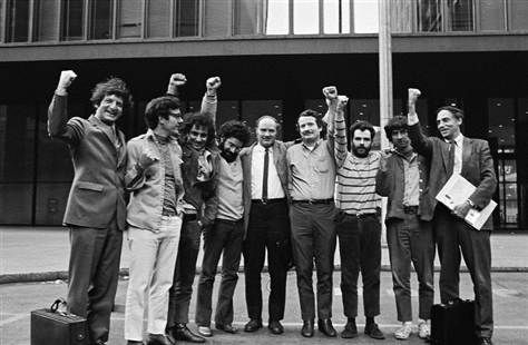 The Chicago Seven and their lawyers, arrested 1968, tried 1969  The Chicago Seven were acquitted 44 years ago today!