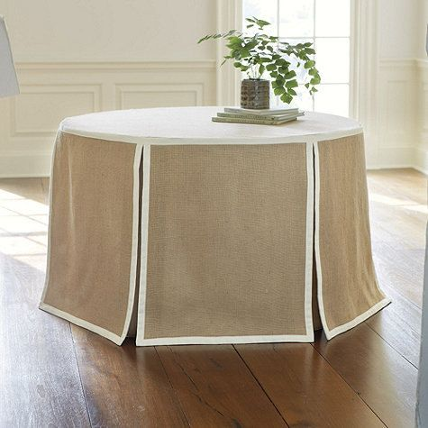 Round tailored table-skirt with 6 grosgrain panels. Choose the size you need from the drop-down box above.    Let me know if you have