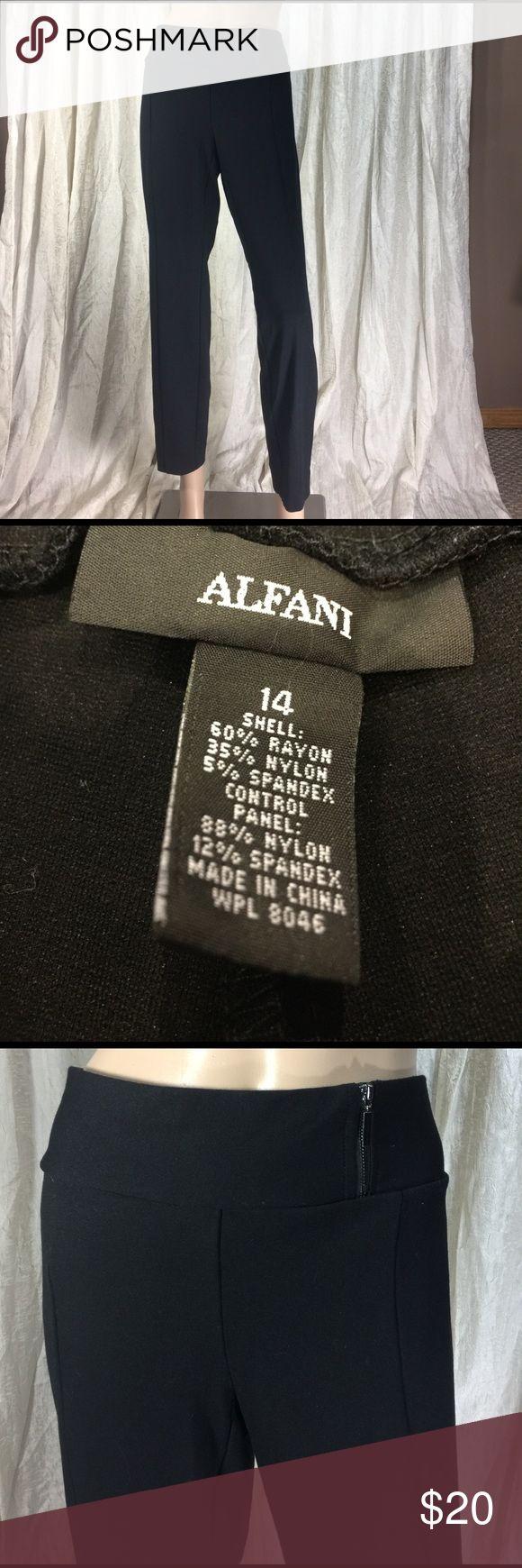 "BLACK ankle pants size 14 crop dress pants Black ankle pants, crop dress pants made by Alfani size 14 waist 38"" hips 44"" length 27.5"" Stretchy material Alfani Pants Ankle & Cropped"