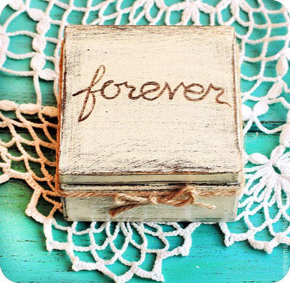 """Купить коробочка для колец """"forever"""" - бежевый, коробочка, шкатулка, для колец, коробка для колец, свадьба"""
