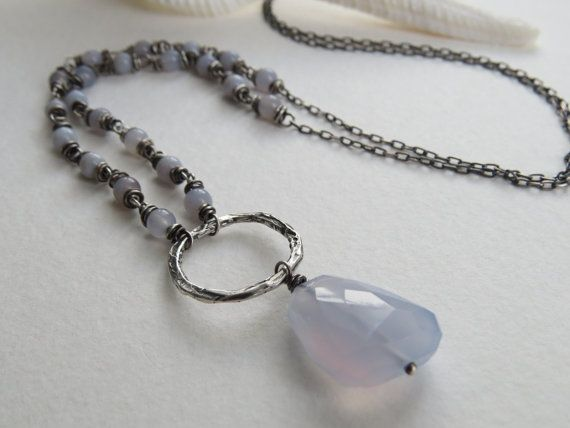 Hey, I found this really awesome Etsy listing at https://www.etsy.com/listing/223656476/chalcedony-and-oxidized-sterling-silver