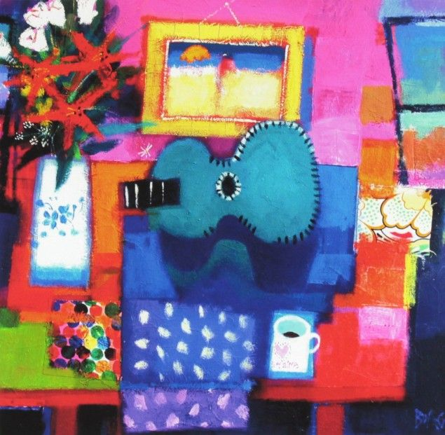 Francis Boag, The Green Guitar_Signed Limited Edition Print Giclee | Scottish Contemporary Art
