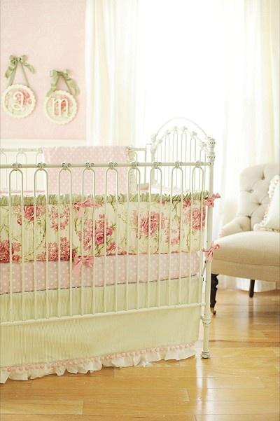 so pretty: Crib Bedding, Baby Bedding, Shabby Chic, Baby Girl, Roses, Nursery Ideas, Baby Room, Cribs