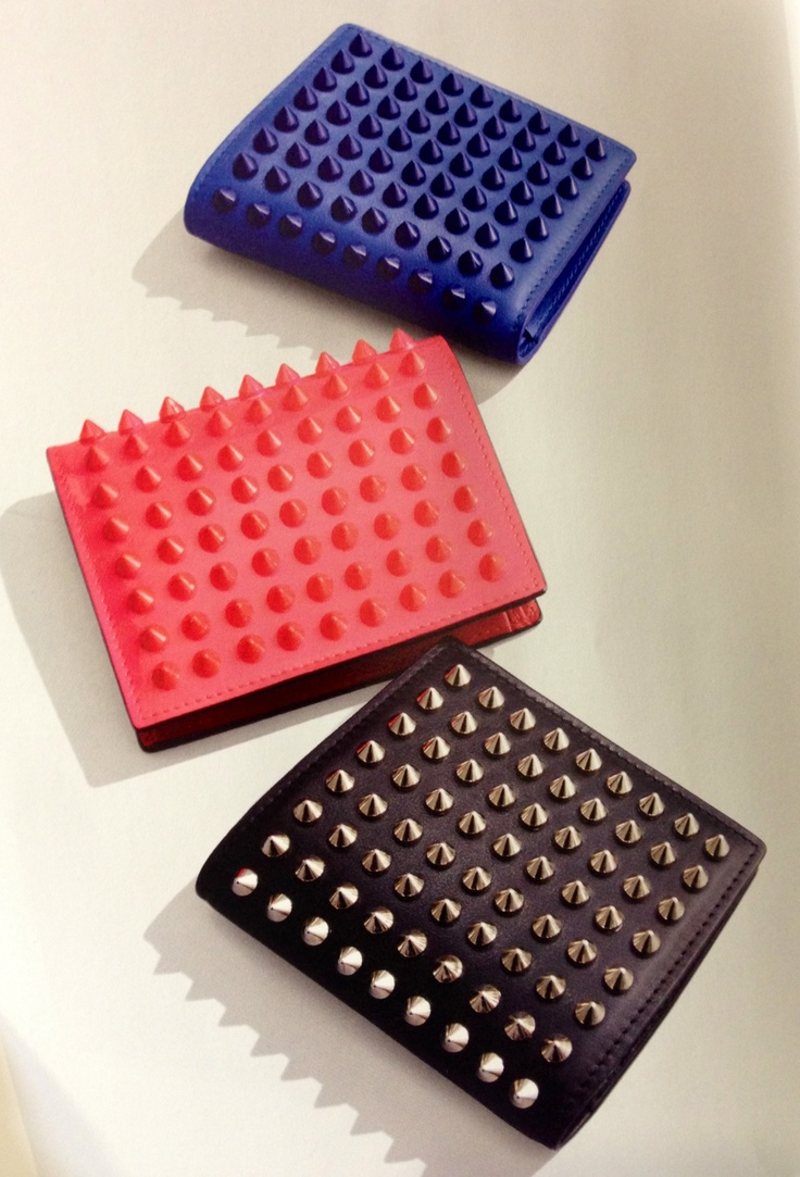 Christian Louboutin leather wallet with spikes in blue sapphire ...
