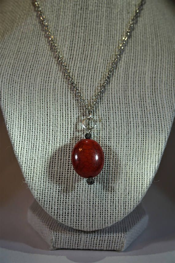 Silver and red necklace, pendant, jewelry  https://www.etsy.com/ca/listing/470999646/red-oval-necklace