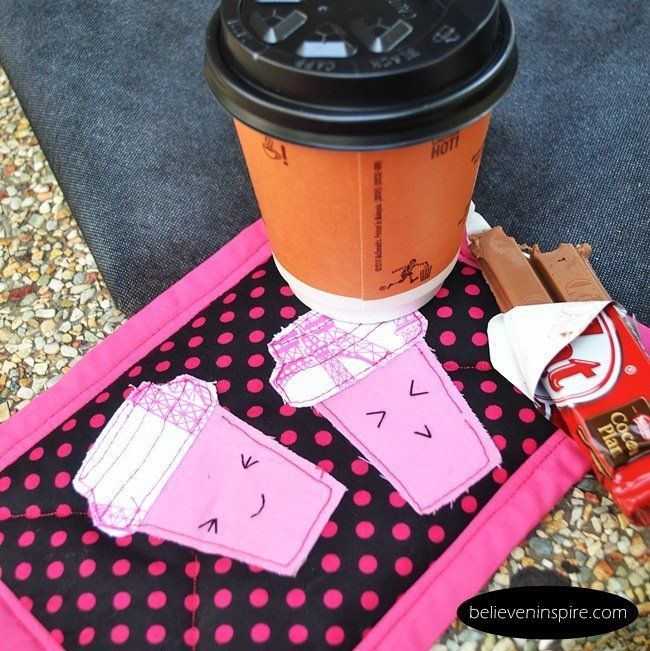 Happy Cup Mug Rug Pattern.  Love this!  Easy to make!