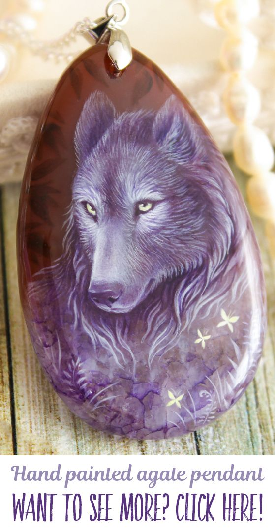 Violet wolf, crystal spirit pendants. Hand painted by oil paints agate stone. Each pendant is unique, I don't make any copy. You can buy it in my Etsy shop, I make sales each month. Usually items sells very fast, so subscribe me in social media and you always will be informed about all sales and items! My nickname on Facebook, Instagram and Devianart is same - LunarFerns
