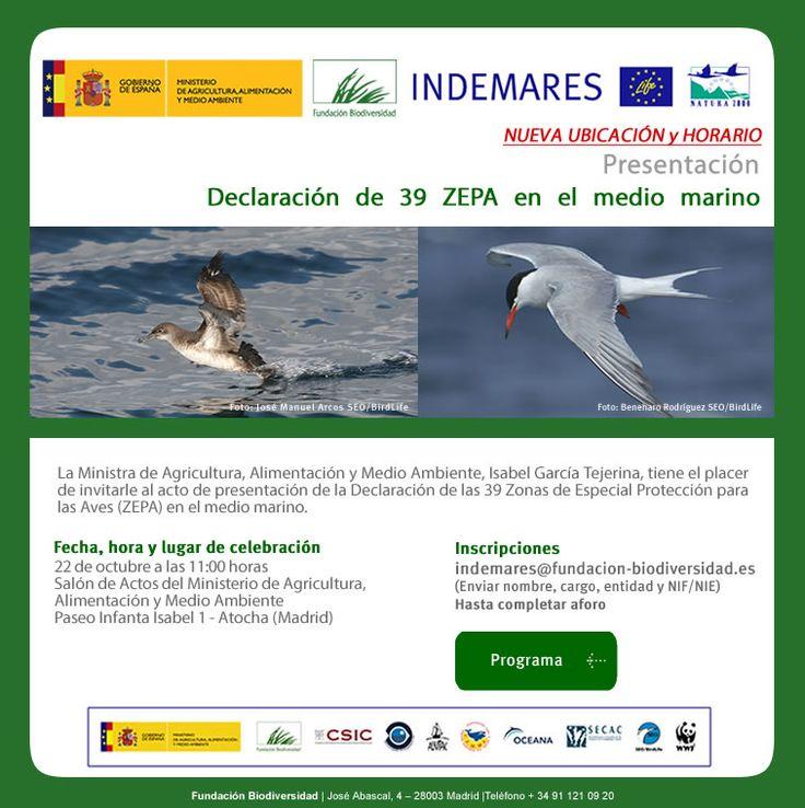 Fundación Biodiversidad: Nueva ubicación y horario: presentación declaración 39 ZEPA en el medio marino   Descarga el programa: http://laoropendolasostenible.blogspot.com.es/2014/10/fundacion-biodiversidad-nueva-ubicacion.html