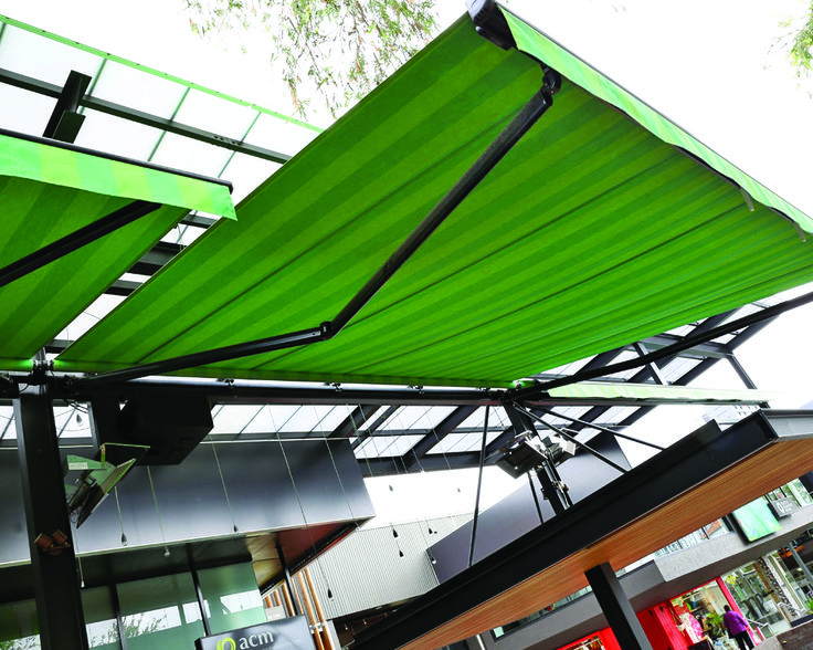 Vanguard Blinds | Installation of 3 x Dim folding arm awnings | Sixes and Sevens. Fortitude Valley