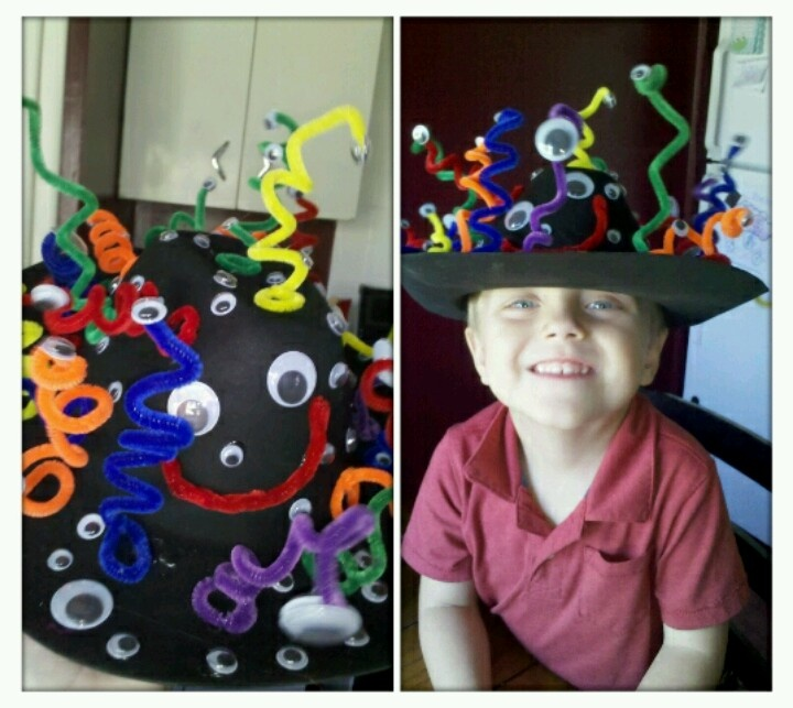 Made this crazy hat out of pipe cleaners. Google eyes and a foam cowboy hat from the dollar tree. (Hot glue too) whole thing cost me $4