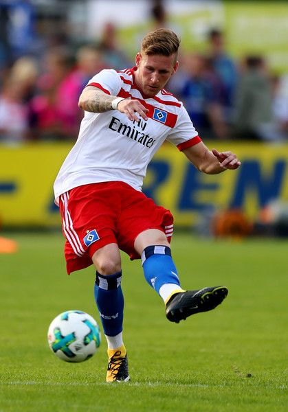 Andre Hahn of Hamburg runs with the ball during the preseason friendly match between Holstein Kiel and Hamburger SV at Gruemmi-Arena on July 19, 2017 in Kiel, Germany.