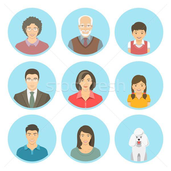 Stock fotó: ázsiai · család · arcok · vektor · szett · ikonok