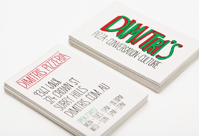 Conceptual business card design for Dimitri's Pizzeria, Crown St, Sydney.