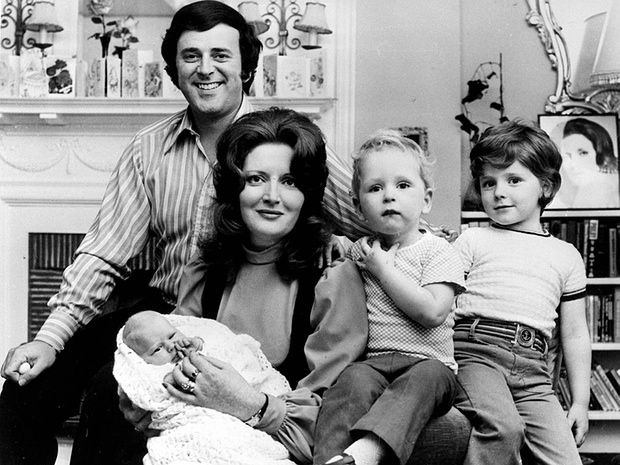Sir Terry Wogan and his wife Helen with their daughter Katherine at three weeks old, and their sons Alan, five (right), and Mark, two