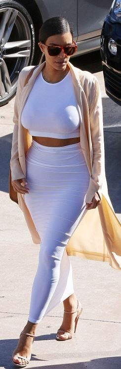 Kim Kardashian�s white top, maxi skirt, nude coat, tan handbag, sunglasses, and ankle strap sandals