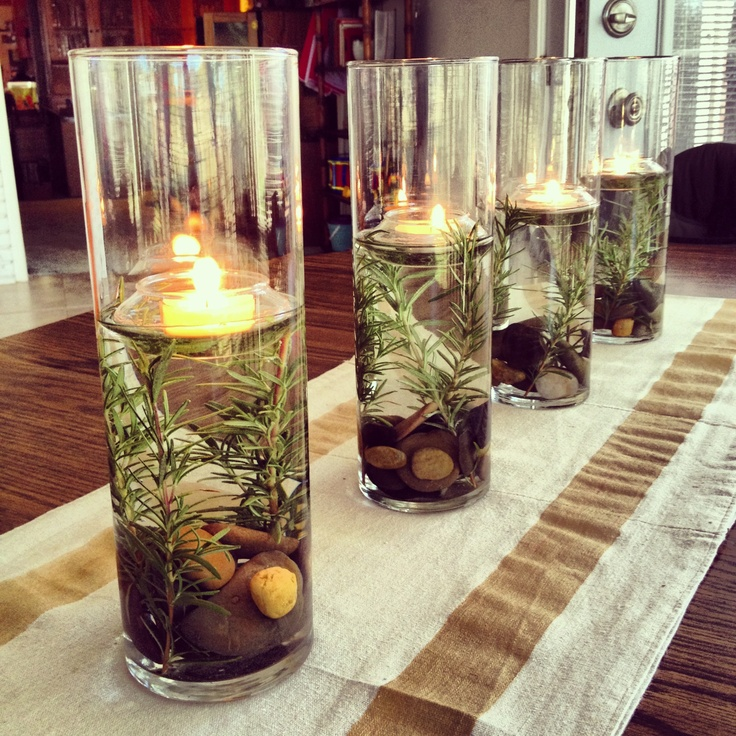 Festive Centerpiece - River rocks, Rosemary & Floating Tealights