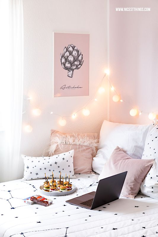 Bedroom bed with fairy lights pillow pink #bedroom ...