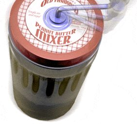 This innovative new device will easily stir the peanut butter in the original container without splashing the oil. It conveniently cleans the mixing rod upon removal from the jar. These features will help you enjoy your experience with Natural Peanut Butter.