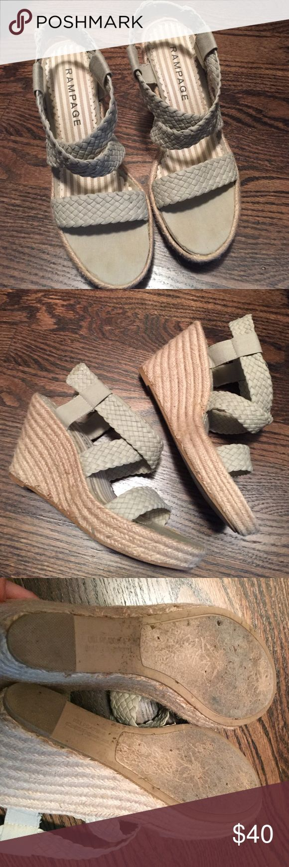 Rampage grey espadrille wedges 7.5 Espadrille wedges. Grey leather straps size 7.5 Rampage Shoes Espadrilles