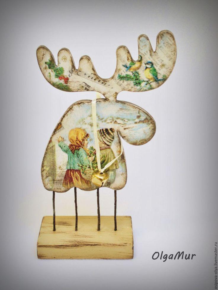 """Купить новогодний декор """"Лось винтажный"""" - разноцветный, лось, олень, новогодний подарок, новогодний сувенир"""