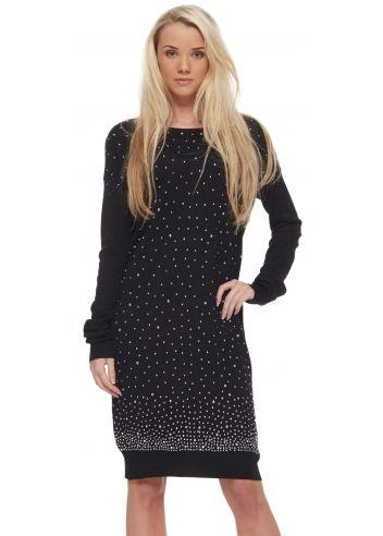 Laetitia Mem Black Oversized Crystal Zip Back Jumper Dress
