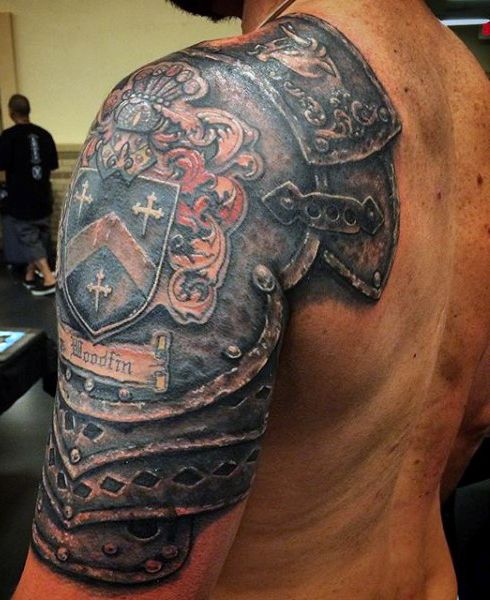 Guys Knight Suit Armor Tattoo