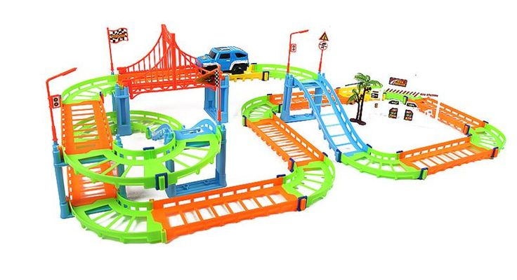DIY Electric Car Racing Variety 73 pieces Two-Layer Track Building Blocks Model For Kids Gift Toys
