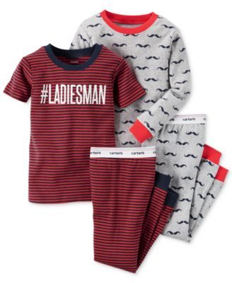 Carter's Baby Boys' 4-Piece Graphic-Print Pajamas Set
