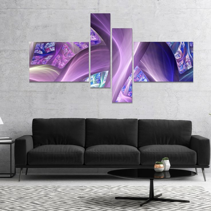 Designart 'Purple Fractal Curves' Abstract Canvas Art Print