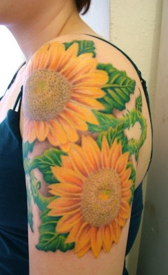 ~Sunflowers~ I think this one would be sort of difficult to cover up at work :)