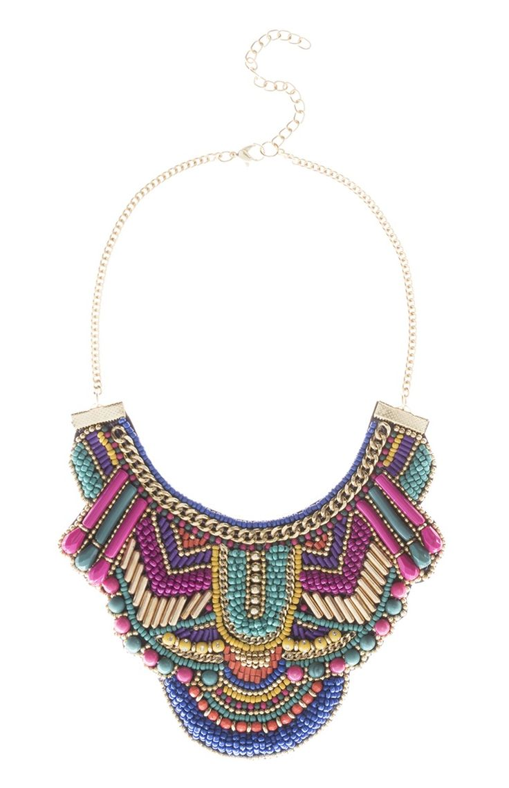 Collier plastron tendance multicolore