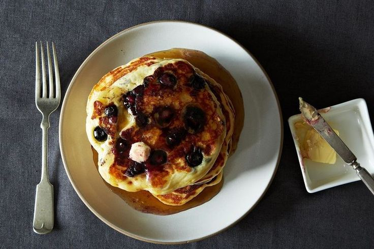Lemony Cream Cheese Pancakes with Blueberries recipe on Food52