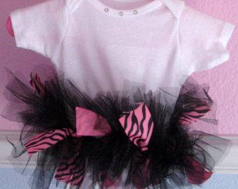 Hot Pink Zebra tutu Baby One Piece