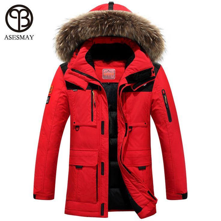 Winter jacket men coat duck down jacket with fur hood Removable parka men coat masculine jacket Plus Size