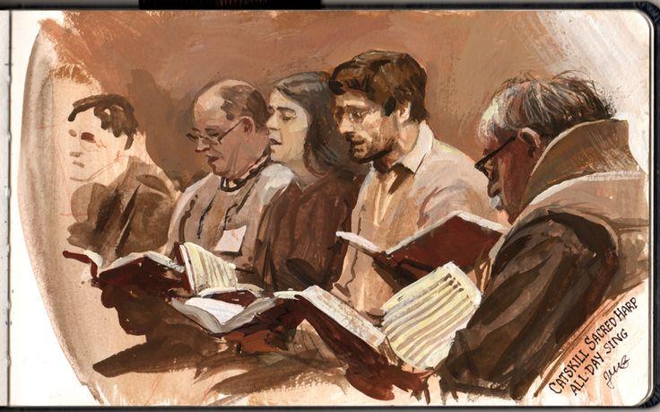 Painting Sacred Harp singers, casein.