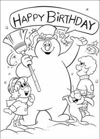 Printable Coloring Pages of Frosty The Snowman, Happy Brithday - Picture 3