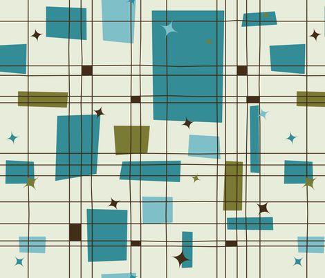 Mid-Century Modern - Grid & Stars (Teal) vertical by studiofibonacci