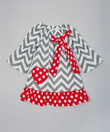 11.99 Love this Gray & Red Chevron Heart Dress - Infant & Girls on #zulily! #zulilyfinds