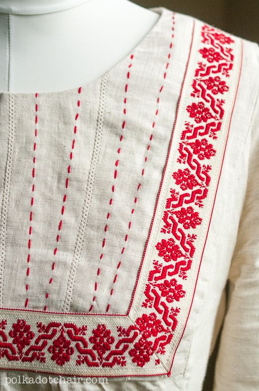 Anna Maria Horner : Painted Portrait Blouse with ribbon trim and embroidery detail.
