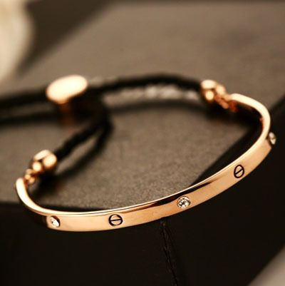 HOT HOT HOT Brand New bracelet Real Rose Gold Plated adjustable Bracelet&Bangle Luxury Gift For Women