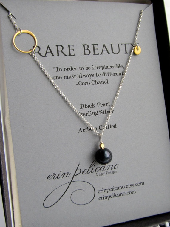 Black Pearl and Gold Vermeil Necklace  Rare Beauty by erinpelicano, 54.00